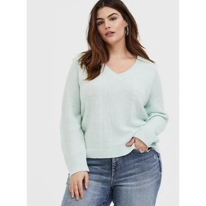 Torrid V Neck Midi Pullover Sweater Knit Mint